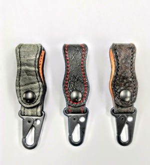 Exotic Leather Hand Made Keychains with AR-15 Sling Hook